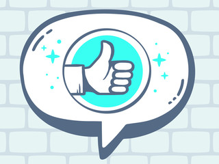 Vector illustration of speech bubble with icon of thumb up on gr