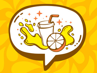 Vector illustration of speech bubble with icon of fresh fruit ju