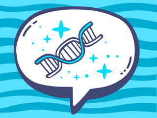 Vector illustration of speech bubble with icon of dna molecule c