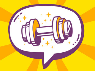 Vector illustration of speech bubble with icon of dumbbell on ye