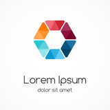 Fototapety Color logo template. Hexagon element, ymbol.
