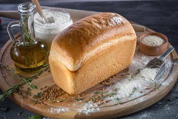 White loaf bread on wooden board
