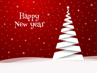 Happy New Year greeting card. White tree.