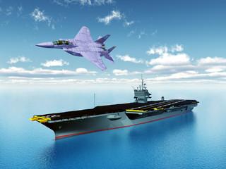 Aircraft Carrier and Combat Aircraft