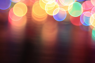 colorful bokeh Christmas garland Christmas lights