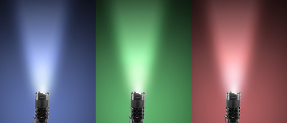 Led torch with colored beam of light