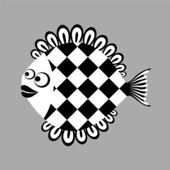 Mystery fish. Vector cartoon illustration