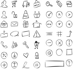 e-commerce sketchy icon set