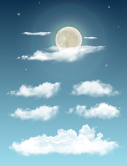 Transparent realistic clouds . Night sky with moon and clouds