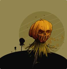 Creepy pumpkin on a pike