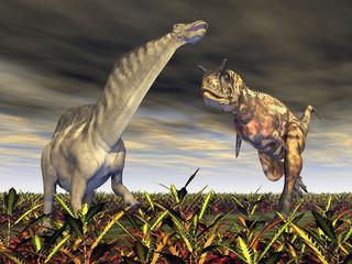 Carnotaurus attacks Amargasaurus