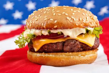 Cheeseburger with mayonnaise on USA flag