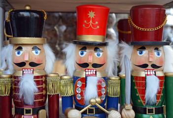 Three colorful christmas nutcrackers