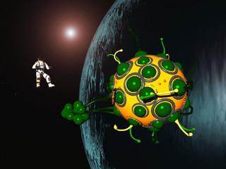 Astronaut und Raumschiff in einer fernen Welt