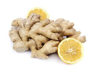 Fresh lemon with ginger on a white background