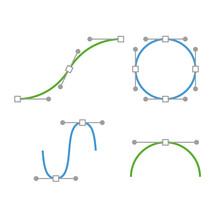 Bezier Curve Icons Set. Designer work tools. Vector