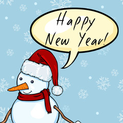 Vector Snowman with Bubble Happy New Year