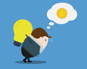 Businessman with Big Bulb Idea think for money