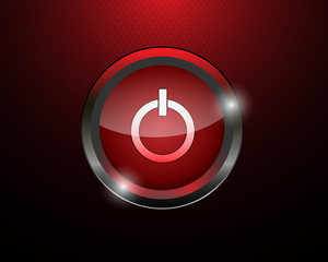 red power button on red background