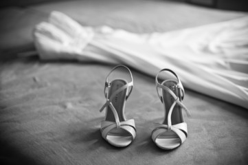 wedding dress with shoes, BW