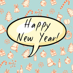 Vector Greeting Card. Happy New Year Bubble