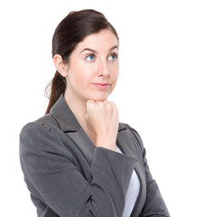 Business woman think of something