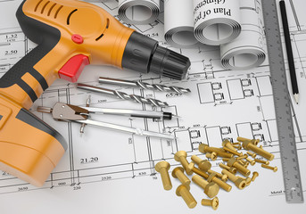 Electric screwdriver, fastening hardware, borers, some draftsman
