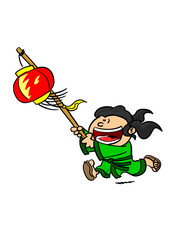 Girl Running With Chinese Lantern