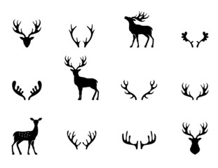 Set of antlers, silhouette, vector