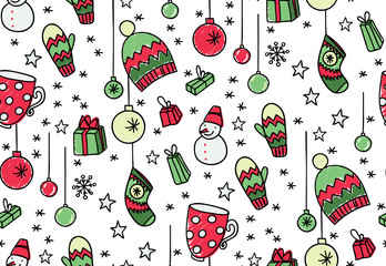 Hand drawn New Year seamless pattern