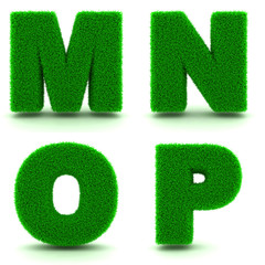 Letters M, N, O, P of 3d Green Grass - Set.