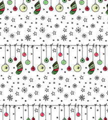 Hand drawn New Year and Christmas seamless pattern