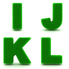 Letters I, J, K, L of 3d Green Grass - Set.