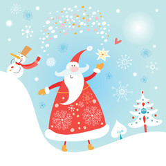 Christmas card with Santa Claus and snowman
