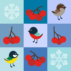 Winter birds seamless pattern