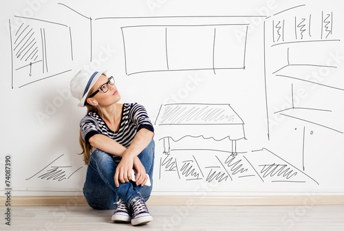 Leinwanddruck Bild Dreaming woman in headset over drawn living room background