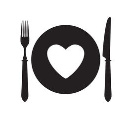 Plate, fork and knife with heart icon.