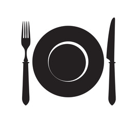 Plate, fork and knife icon.