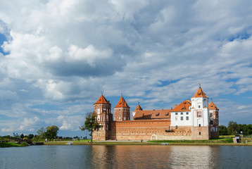 Belarus, Mir Castle Complex, view from the lake