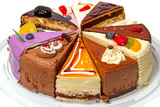 Fototapety Different pieces of cake on a plate