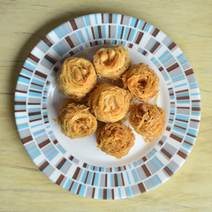 Birds nest baklava dessert with peanuts