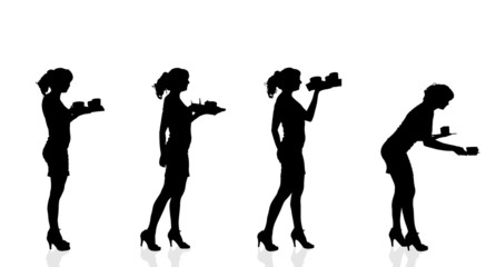 Vector silhouette waiter.