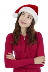 Thinking christmas woman