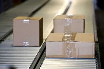 Shipping Boxes On Conveyor Belt