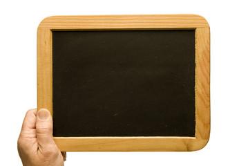 Small Old Blank Blackboard Held By Hand