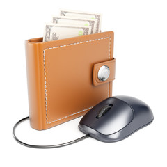 Computer mouse connected to wallet