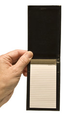 Small Old Blank Notepad Held By Hand