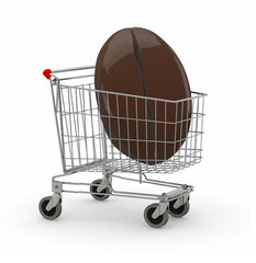 shopping cart with big coffee bean