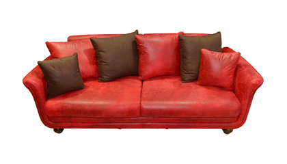 Leather red couch