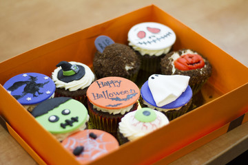 Delicious cakes for Halloween. Zombie, witch, ghost, pumpkin,